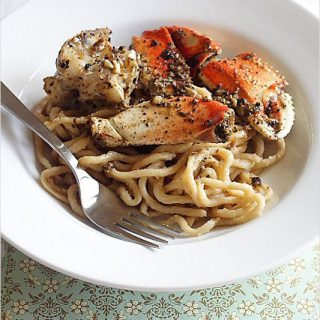 Crustacean-inspired Garlic Noodles and Roasted Crab