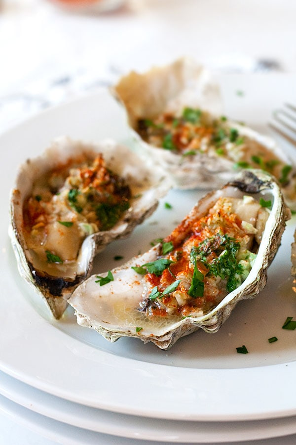 Grilled oysters with garlic, butter, parsley and paprika.