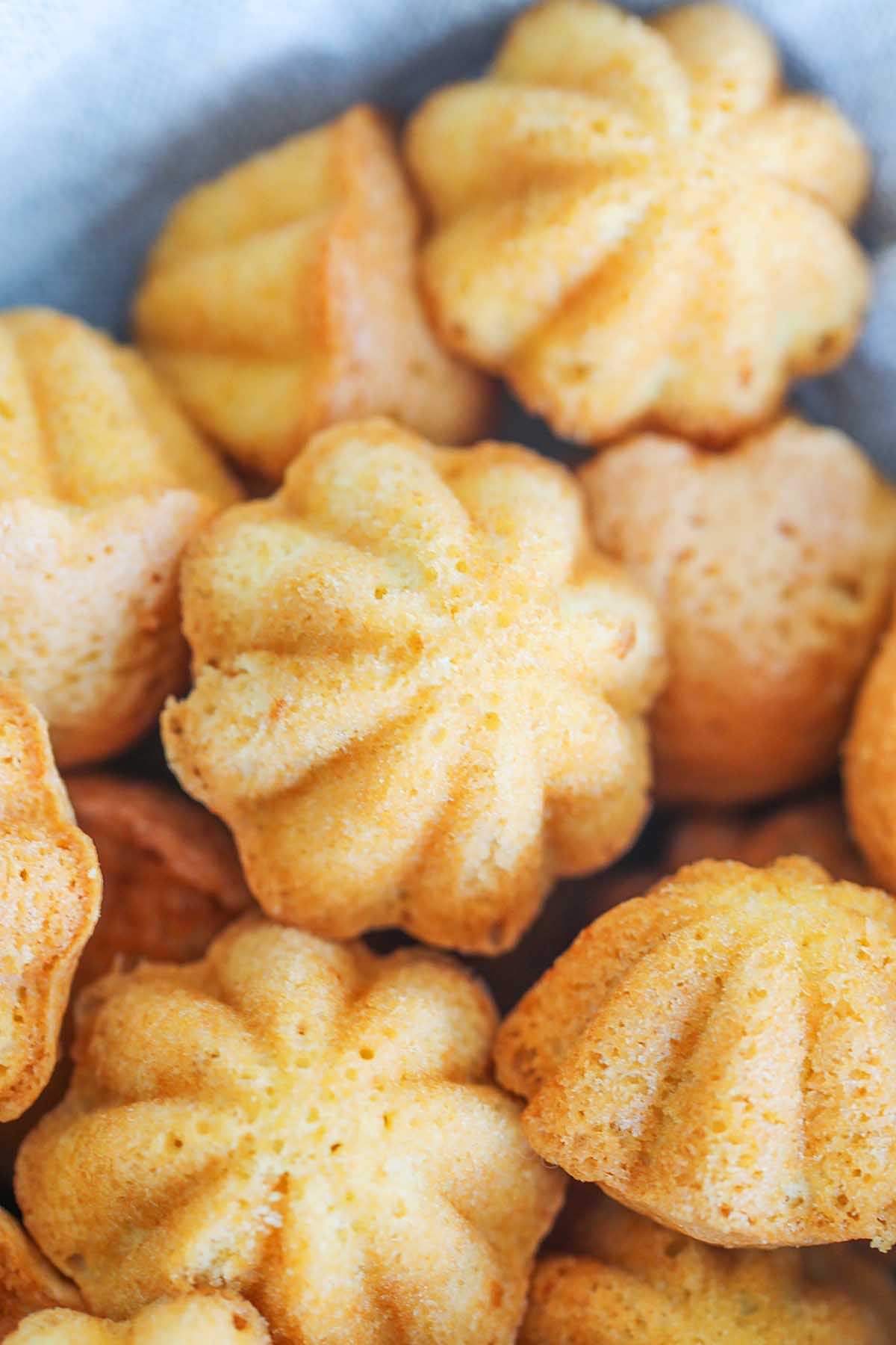 Traditional Kuih Bahulu cake baked in flower shapes.