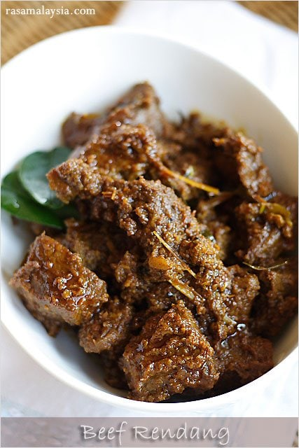 The BEST and most authentic beef rendang (rendang daging) recipe ever! Spicy, rich and creamy Malaysian/Indonesian beef stew. | rasamalaysia.com