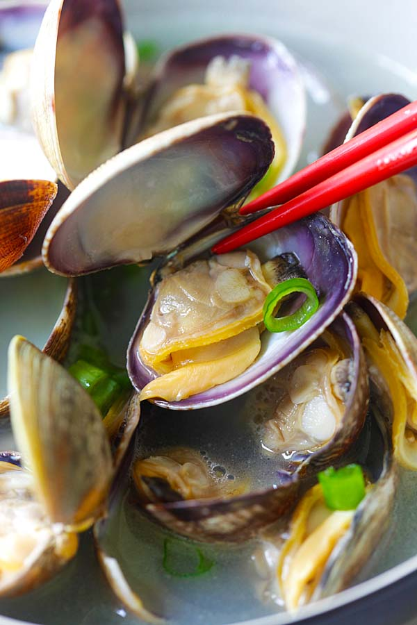 Steamed Manila (Asari) clams with butter and Japanese sake, ready to serve.