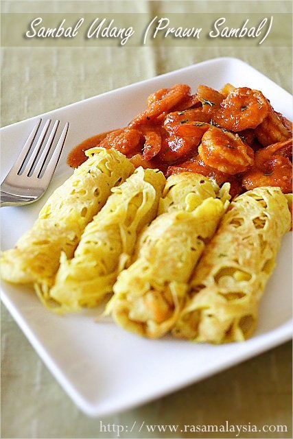 Sambal Udang (Prawn Sambal) with Roti Jala recipe - Prawn sambal is my most requested dish and quite delicious when served with lacy pancakes, called roti jala.   rasamalaysia.com
