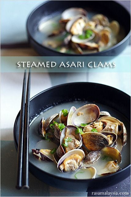 Steamed Asari Clams - clams, butter, sake, scallion. | rasamalaysia.com