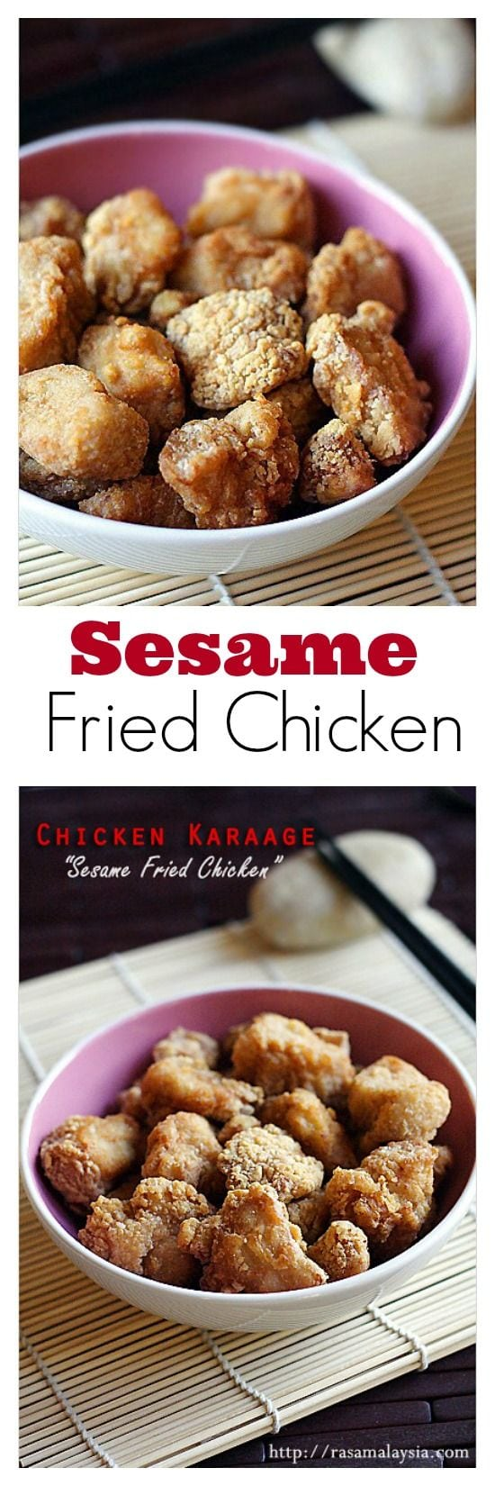 Sesame Fried Chicken or Chicken Karaage - Japanese restaurant favorite fried chicken is so yummy and addictive | rasamalaysia.com
