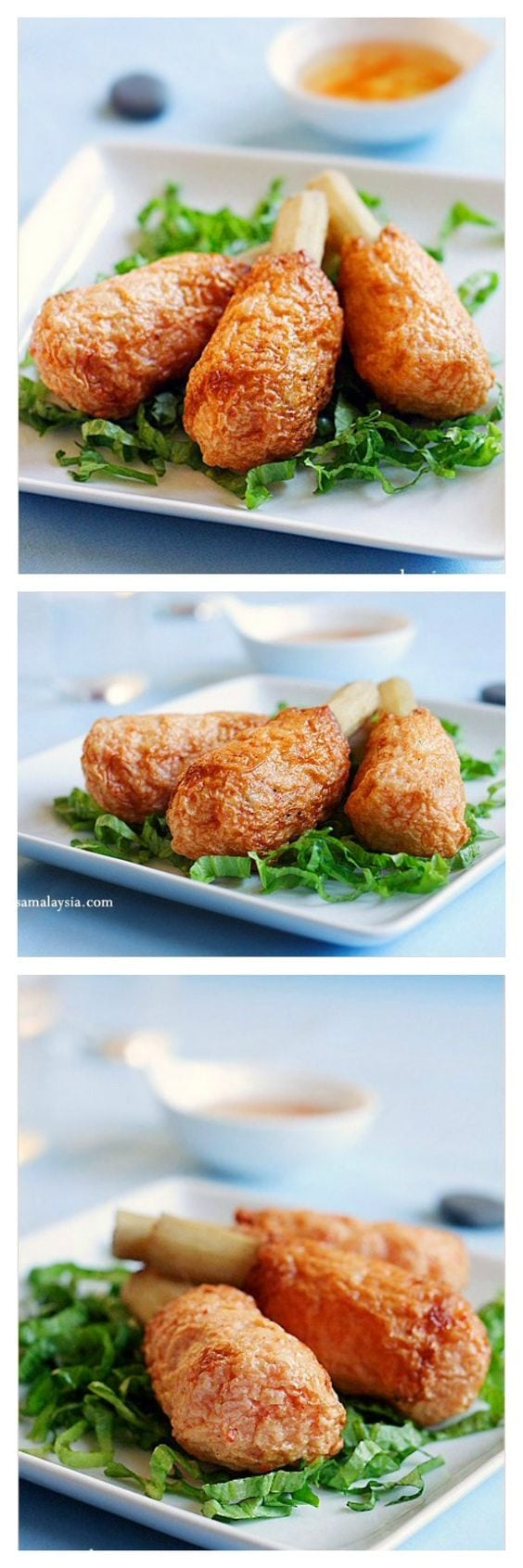 Asian sugarcane shrimp recipe. This is the most AMAZING appetizer ever. Shrimp wrapped around with sweet sugarcane and deep-fried and served with sweet chili sauce. Slurp! | rasamalaysia.com