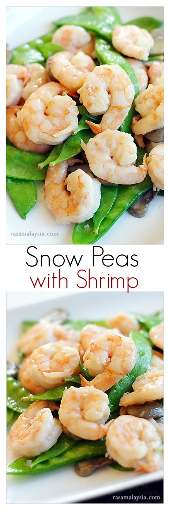 Shrimp with Snow Peas - super light and healthy recipe that takes 15 mins to make, and so delicious!!   rasamalaysia.com