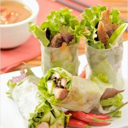 Vietnamese Fresh Spring Rolls with Hoisin Peanut Dipping Sauce