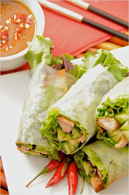 Goi Cuon (Vietnamese Fresh Spring Rolls) with Hoisin Peanut Dipping Sauce Recipe -- Vietnamese fresh spring rolls, filled with fresh herbs, veggies and grilled pork all wrapped with rice paper | rasamalaysia.com