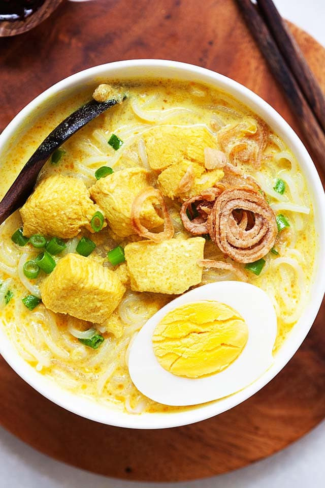 Soto ayam in a bowl.