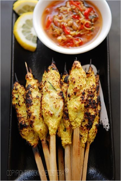 Satay Lilit Bali - shrimp and mackerel loaded onto bamboo skewers, grilled and then served with Balinese dipping sauce. | rasamalaysia.com