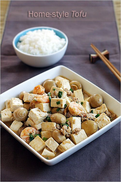 Home-style Tofu Recipe - a block of tofu, some mushrooms (I used canned button mushrooms), ground pork, and shrimp. The sauce is the popular Chinese brown sauce that consists of oyster sauce and soy sauce. | rasamalaysia.com