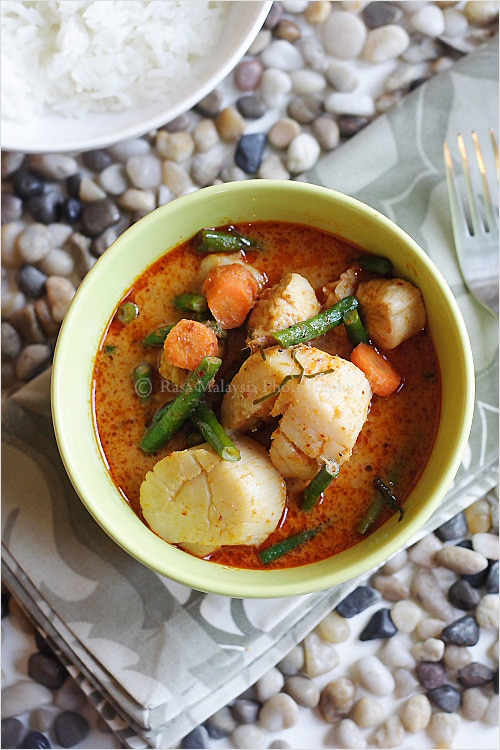 Thai red curry and red curry recipe. Easy and authentic red curry recipe for a bowl of tasty Thai red curry. Complete with red curry photography. A must try! | rasamalaysia.com