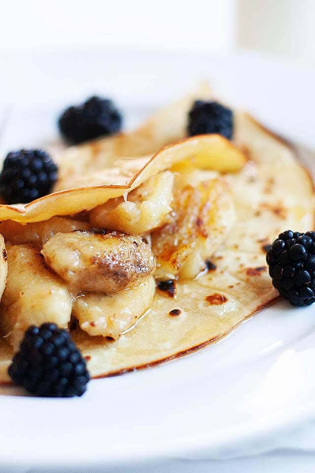 Easy banana pancakes with maple syrup.