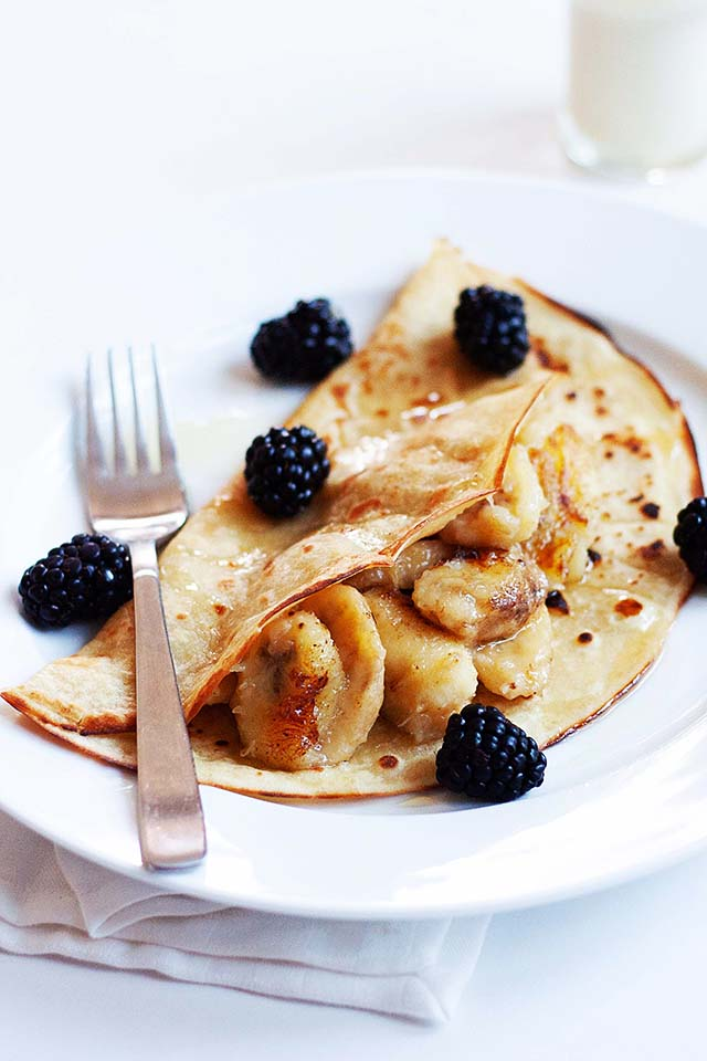 Tasty banana pancakes, ready to serve.