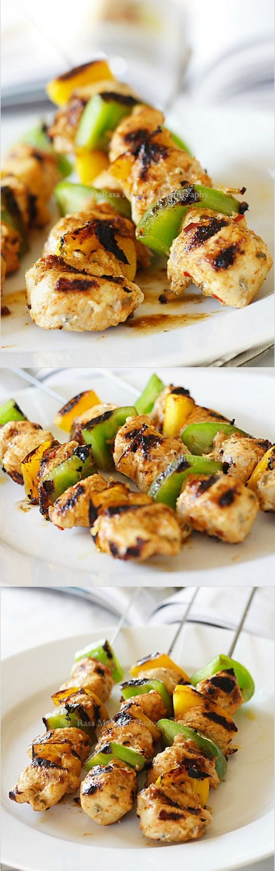 Juicy chicken kebab - marinated with olive oil, lemon juice, cumin and paprika, this chicken kebab is the BEST | rasamalaysia.com