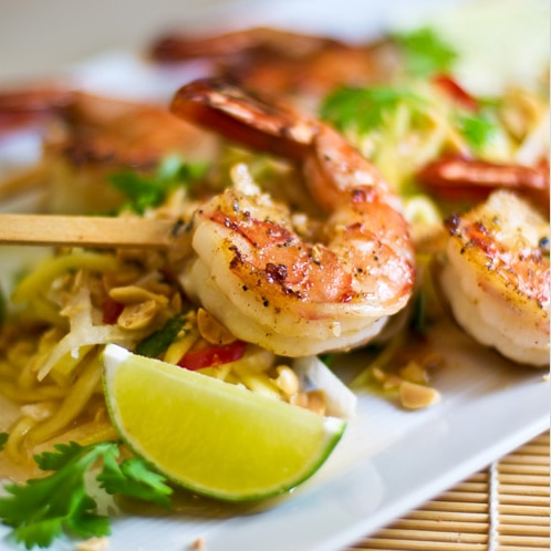 Grilled Shrimp with Green Papaya and Mango Salad