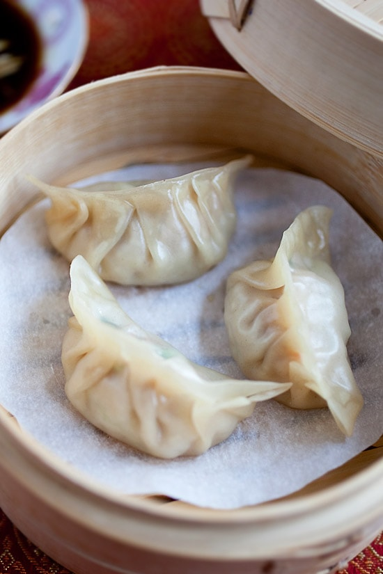 Perfectly wrapped and steamed dumplings ready to serve.