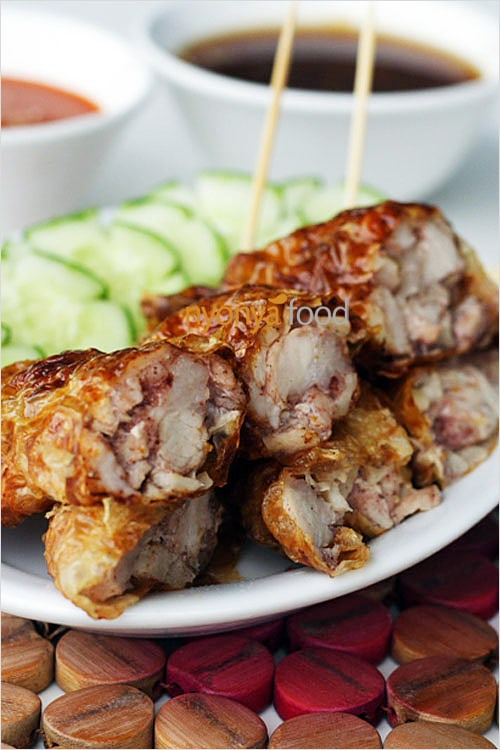 Five Spice Pork Rolls or Loh bak, a Malaysian recipe with 5-spice marinated pork wrapped with bean curd skin and deep-fried. So yummy   rasamalaysia.com