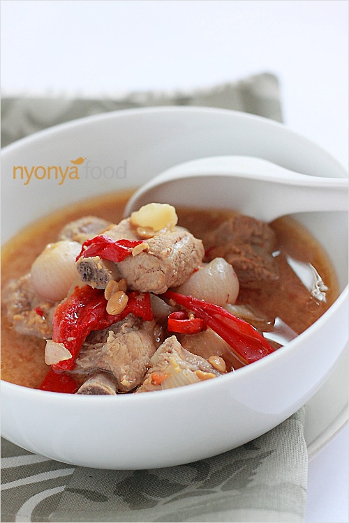 Nyonya stewed pork ribs is a very delicious dish, one that would certainly stimulate your appetite with its tangy and savory taste. | rasamalaysia.com