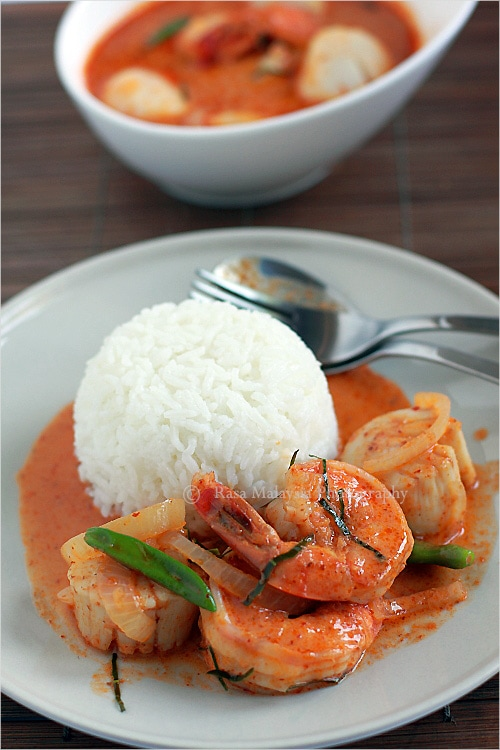 Easy Thai curry and Thai curry recipe. You can make delicious Thai curry with chicken, seafood, or a combination of both. | rasamalaysia.com