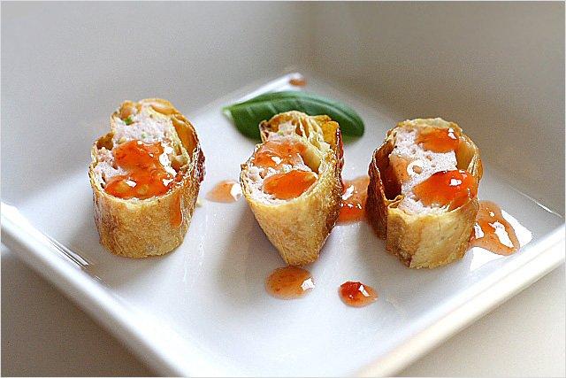 Tau Hu Ky - fried shrimp wrapped with bean curd skin   rasamalaysia.com