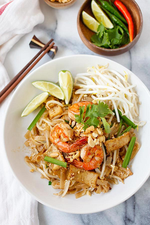 The best shrimp pad thai, made super easy with bean sprouts, chives, and limes.