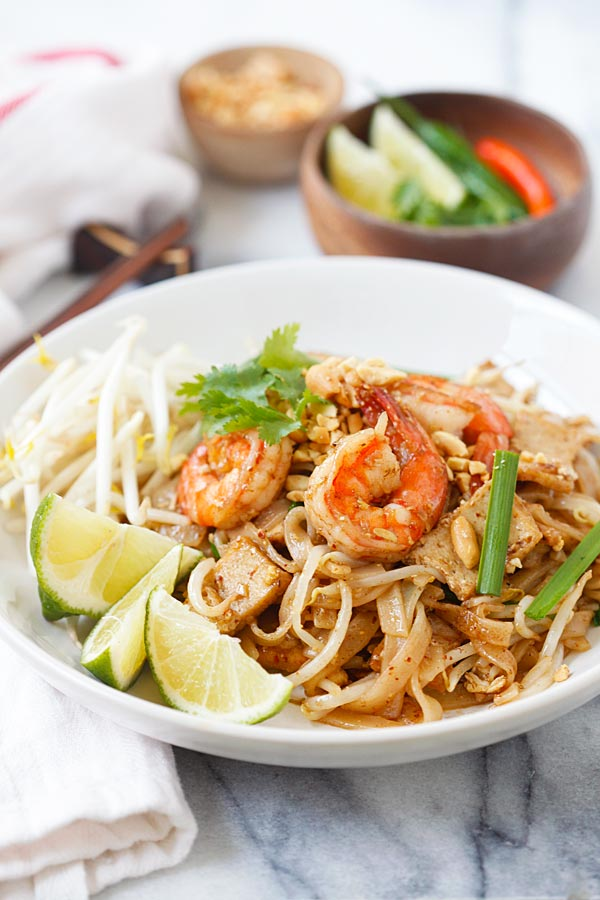 Homemade Thai shrimp pad Thai noodles, make this at home today for much healthier.