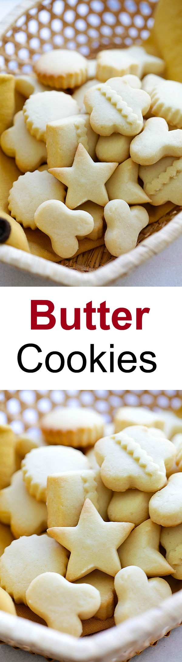 Butter Cookies - EASIEST & BEST butter cookies recipe ever! Loaded with butter, crumbly, melt-in-your-mouth deliciousness. Perfect cookies for holidays!