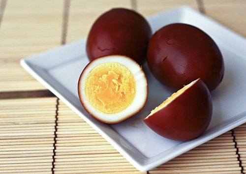 Soy Sauce Eggs (Shoyu Tamago) recipe - Shoyu tamago are eggs that have been hard boiled, peeled, and then cooked in heated soy sauce so that the egg white turns brown on the outside and the egg becomes flavored by the soy sauce. | rasamalaysia.com