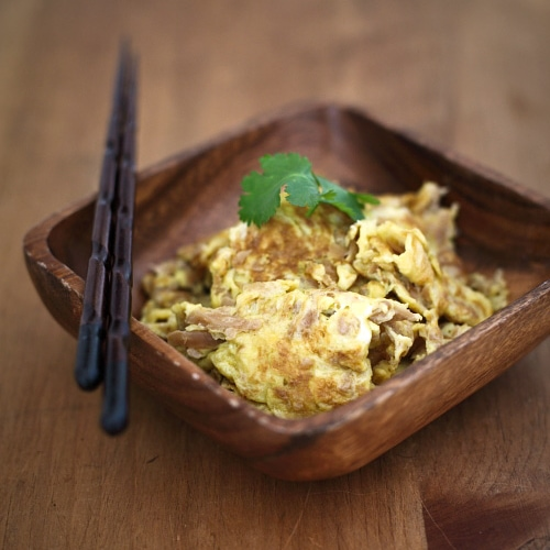Fried eggs with preserved turnip is a simple omelet dish made with ...