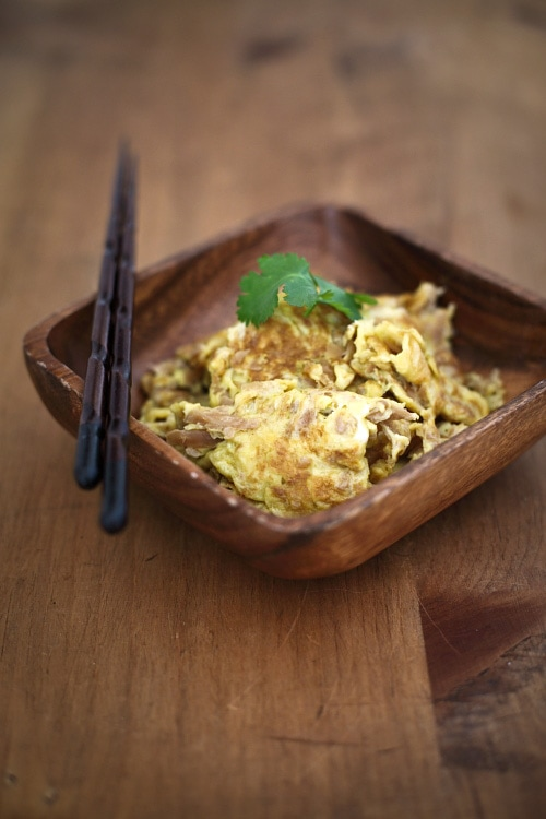 Fried eggs with preserved turnip is a simple omelet dish made with eggs and preserved turnip. This recipe is especially good with porridge or congee. | rasamalaysia.com