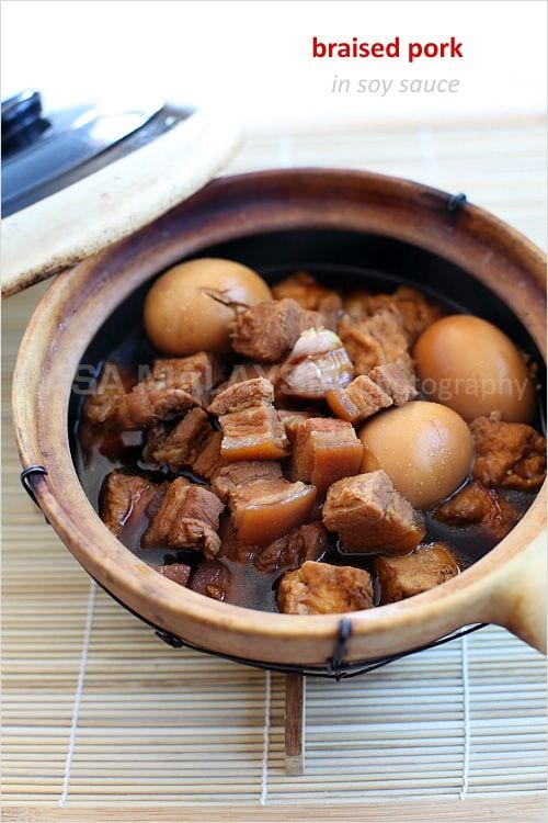 Braised Pork Belly in Soy Sauce (Tau Yew Bak) recipe - Pork belly is steeped in an intensely flavorful soy sauce. The taste is complex, sophisticated, addictive, and utterly delectable. | rasamalaysia.com