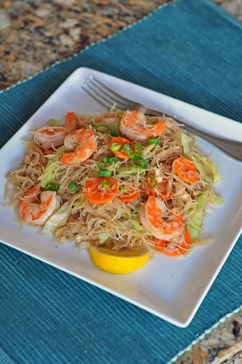 Pancit Bihon (Filipino Fried Rice Noodles) recipe - This classic Filipino noodle dish is relatively easy to make and can be put together using simple ingredients. Consider this a basic recipe to build on. | rasamalaysia.com