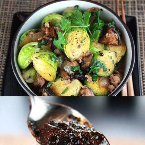 Stir-Fried Brussels Sprouts and Pork in Black Bean Sauce
