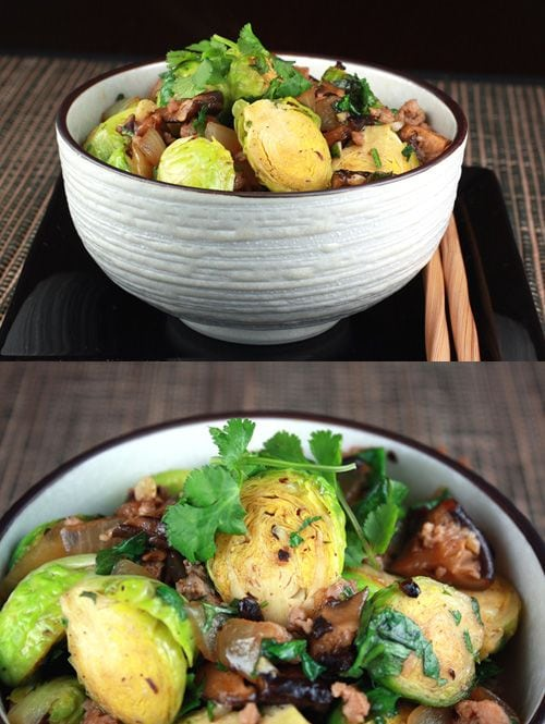 Stir-Fried Brussels Sprouts and Pork in Black Bean Sauce recipe - Fresh Brussels sprouts, ground pork,black bean sauce, chopped fresh ginger, yellow onion, dried shiitakes. | rasamalaysia.com