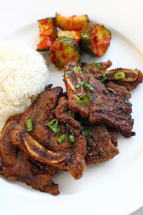 Delicious kalbi, a famous Korean dish featuring short ribs in a yummy marinade.