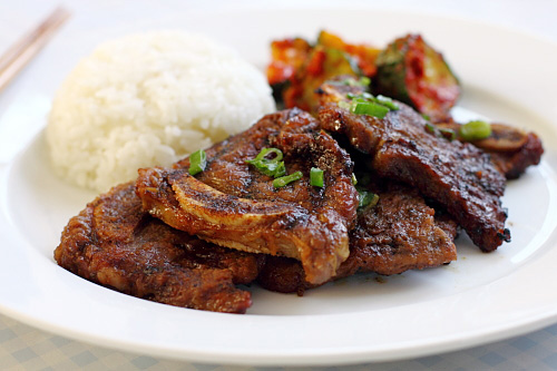 Korean short ribs or galbi in a yummy marinade and grilled to perfection.