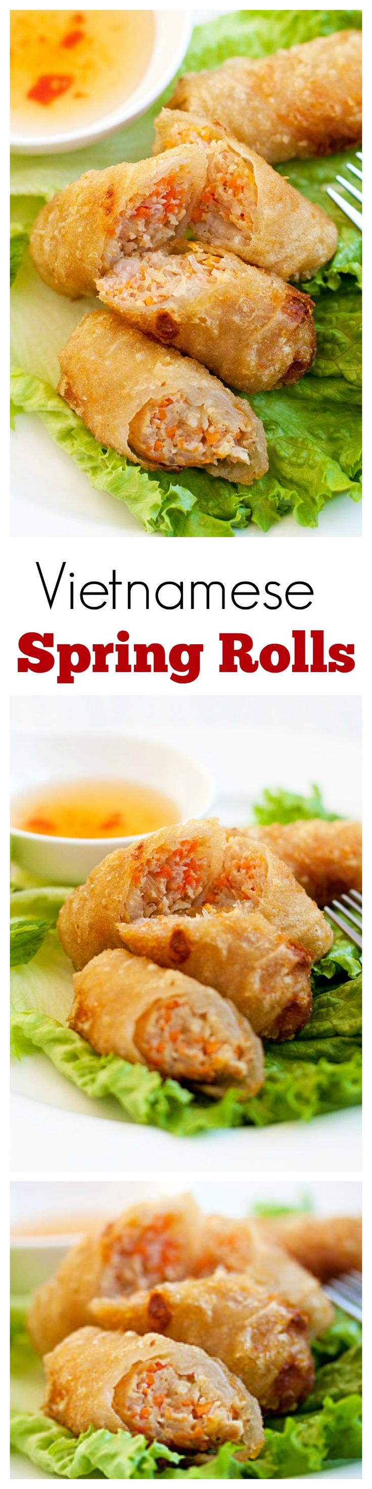 Vietnamese Spring Rolls (Cha Gio) - BEST spring rolls ever deep-fried to crispy perfection. Loaded with crazy delicious filling, a perfect appetizer!! | rasamalaysia.com