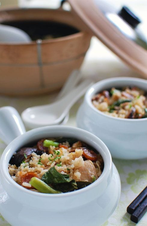 Claypot Chicken Rice - chicken, cornstarch, Chinese rice wine, sesame oil. | rasamalaysia.com