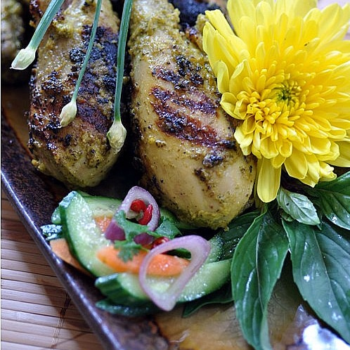 Grilled Coconut Chicken with Lemon Basil (Ayam Panggang Sulawesi)
