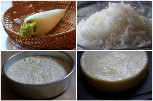 Fried Radish Cake - radish, rice flour, egg, garlic, fish sauce, chili sauce, onion   rasamalaysia.com