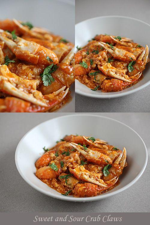 Sweet and Sour Crab Claws - crab claws, ketchup, chili sauce, egg, ginger, garlic, cilantro. | rasamalaysia.com