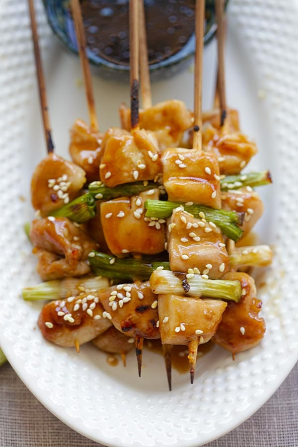 Easy and quick Japanese grilled chicken skewers.