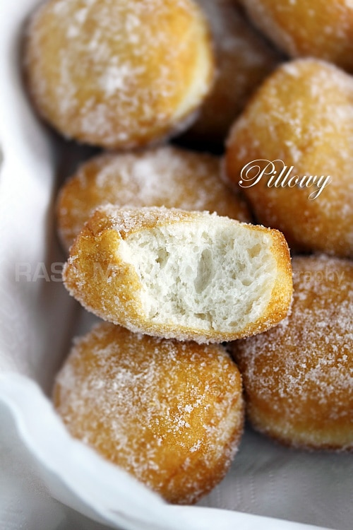 Cheater Donuts using Pillsbury biscuits. Fluffy, light, pillowy and oh-so-YUM. These sugared Pillsbury biscuits are the BEST! | rasamalaysia.com