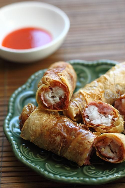 Vegetarian Loh Bak filled with yam (taro). Absolutely amazing flavor.   rasamalaysia.com