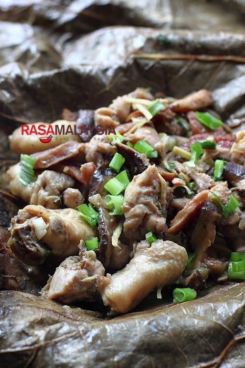 Steamed Chicken in Lotus Leaf – I love the earthy aroma lotus leaves impart to the dish, and most of all, I love it that the leaves retain the moisture and natural flavors of the ingredients. | rasamalaysia.com