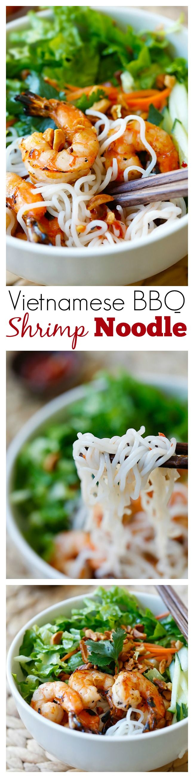 Vietnamese BBQ Shrimp Vermicelli or Bun Tom Heo Nuong is a delicious and healthy noodle dish with shrimp and lots of vegetables, served with a sauce   rasamalaysia.com