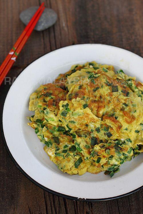 Chives Omelet Recipe | rasamalaysia.com