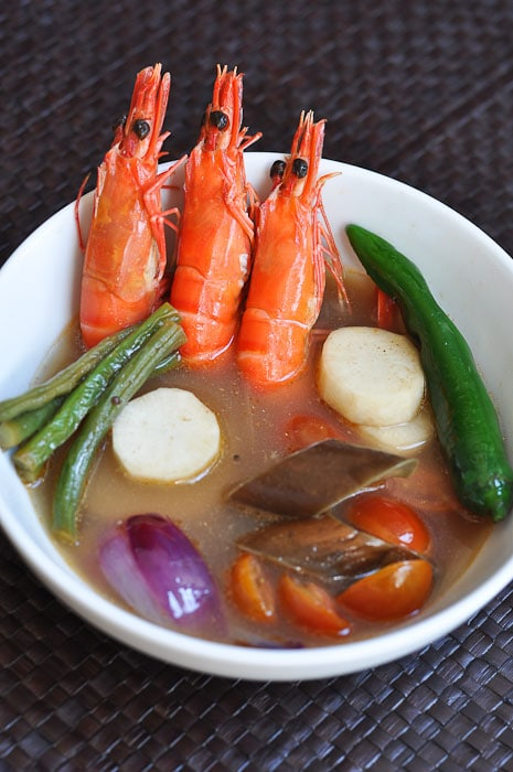 Delicious sinigang, a Filipino stew, made with shrimp.