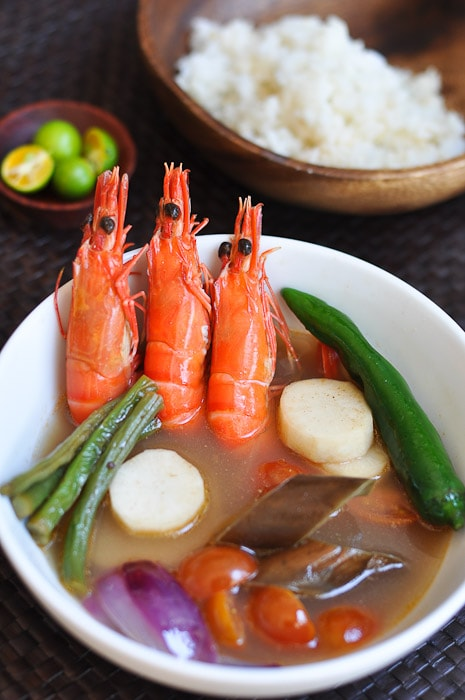 Close up of sinigang recipe made with shrimp in this yummy and easy Filipino stew.